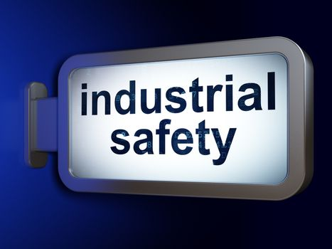 Construction concept: Industrial Safety on advertising billboard background, 3D rendering