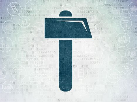 Constructing concept: Painted blue Hammer icon on Digital Data Paper background with Scheme Of Hand Drawn Building Icons