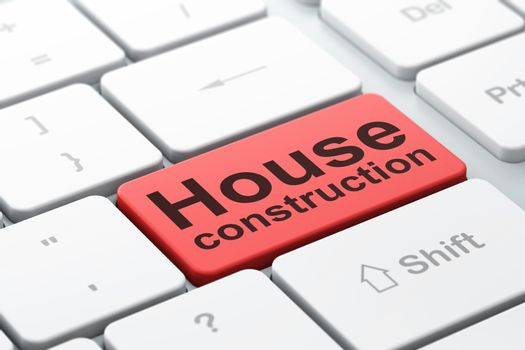 Constructing concept: computer keyboard with word House Construction, selected focus on enter button background, 3D rendering