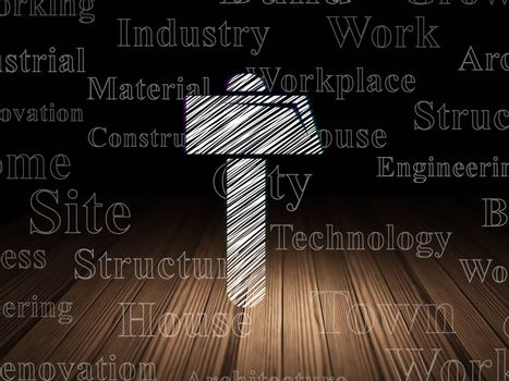 Building construction concept: Glowing Hammer icon in grunge dark room with Wooden Floor, black background with  Tag Cloud