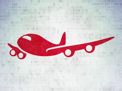 Tourism concept: Painted red Airplane icon on Digital Data Paper background with  Tag Cloud