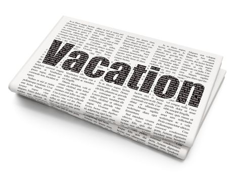 Travel concept: Pixelated black text Vacation on Newspaper background, 3D rendering