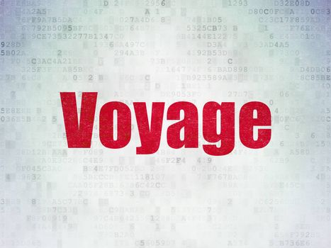 Tourism concept: Painted red word Voyage on Digital Data Paper background