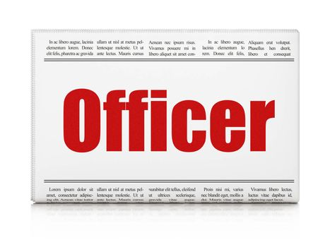 Law concept: newspaper headline Officer on White background, 3D rendering