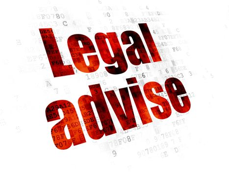Law concept: Pixelated red text Legal Advise on Digital background
