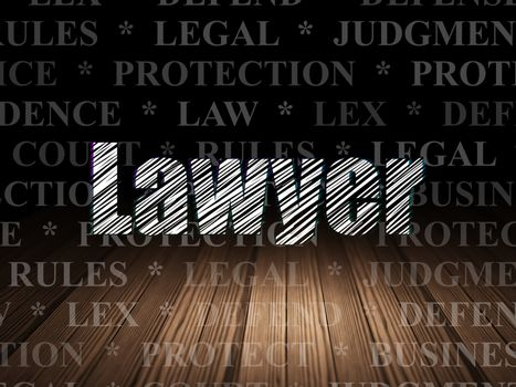 Law concept: Glowing text Lawyer in grunge dark room with Wooden Floor, black background with  Tag Cloud