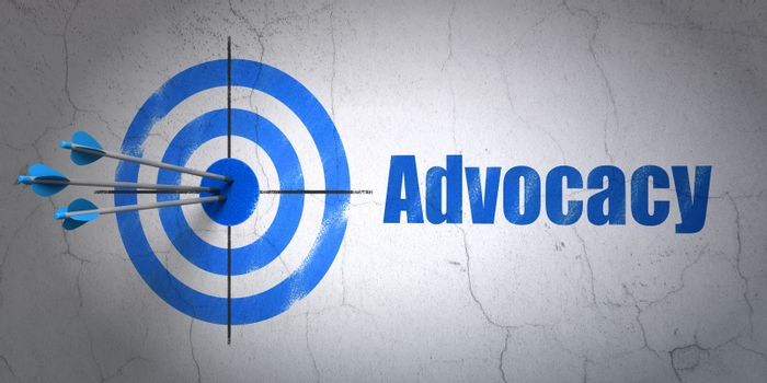 Success law concept: arrows hitting the center of target, Blue Advocacy on wall background, 3D rendering