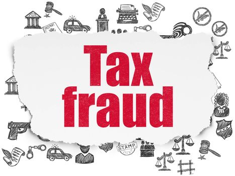 Law concept: Painted red text Tax Fraud on Torn Paper background with  Hand Drawn Law Icons