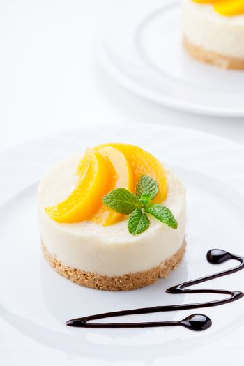 No Bake Cheesecake With Poached Peaches