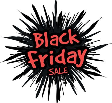 Black Friday in the form of a star drawn in the explosion in the background. Vector illustration