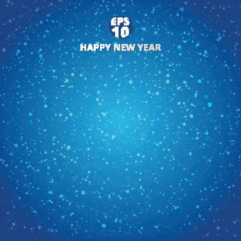 Happy new year and merry christmas on blue blurry vector background with snowflake. Greeting card design template