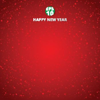 Happy new year and merry christmas on red blurry vector background with snowflake. Greeting card design template