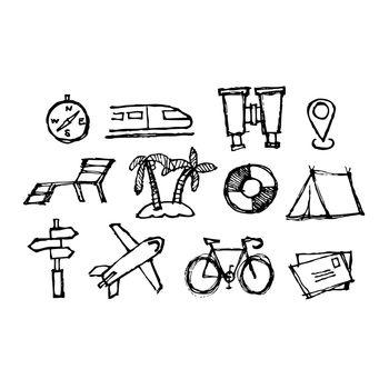sketch illustration set of travel icon,  doodle hand drawn