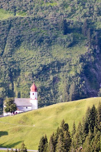 View of the village church of Damüls in the Austrian Tyrol
