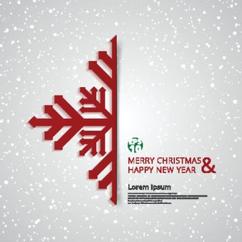 Merry Christmas and Happy New Year snowflake with white snow background design greeting card. vector illustration