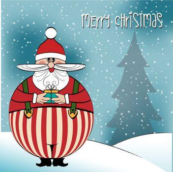 Christmas card with funny fat Santa