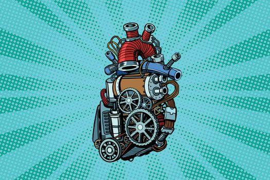 Steampunk heart motor