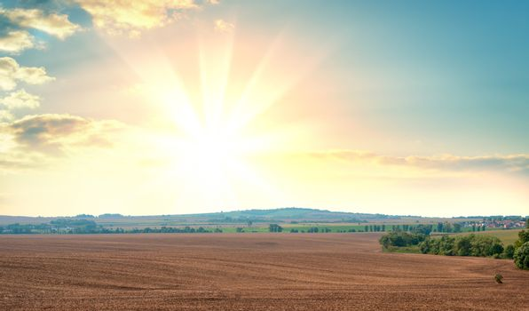 Sunrise over fields and distant woods