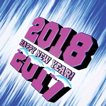 Congratulations on the New Year 2018, which goes after 2017. New Year's figures with snow-covered and frozen edges. Vector illustration