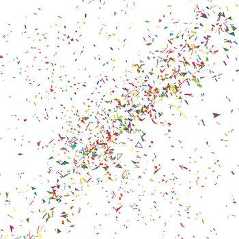 Explosion of multicolored festive confetti on white. Vector background