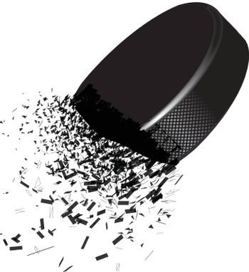 Exploding hockey puck with flying particles on a white background. Vector illustration