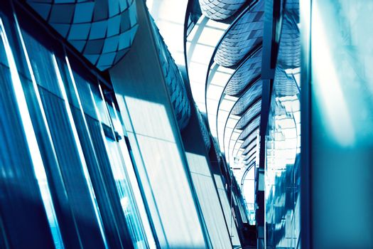 Modern interior design, futuristic corridor of luxury hotel, abstract archicture background, contemporary office building