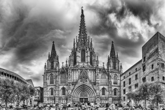 Panoramic view with facade of the Barcelona Cathedral, Catalonia