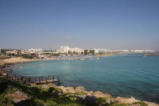 Tourist beach resort town in Cyprus.