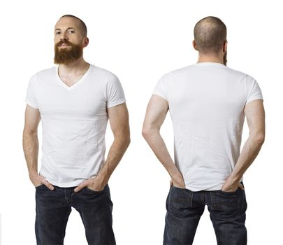 Man with beard and blank white shirt