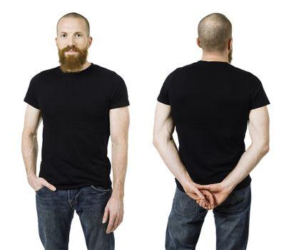 Man with beard and blank black shirt
