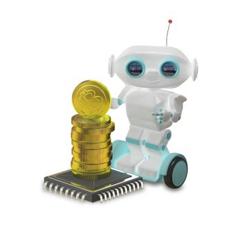 3D Illustration Robot and Bitcoins on White Background