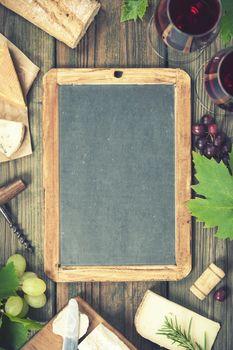 Food frame. Wine and snack set