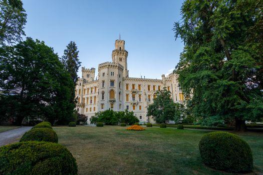 Beautiful white renaissance castle castle Hluboka nad Vltavou in the Czech Republic.