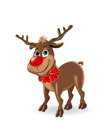 Deer Rudolph with a red bow. A deer on a white background.