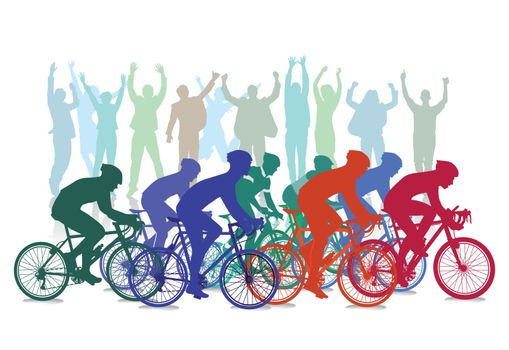 Cycle race competition with spectators, illustration