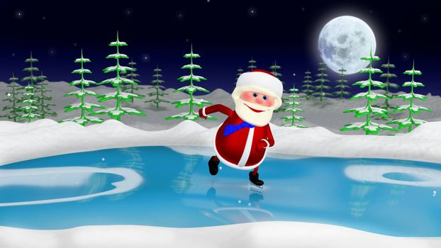3D  Illustration  Santa on the Skates in the Forest