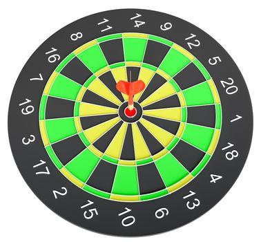 Dartboard with dart arrow hitting the center