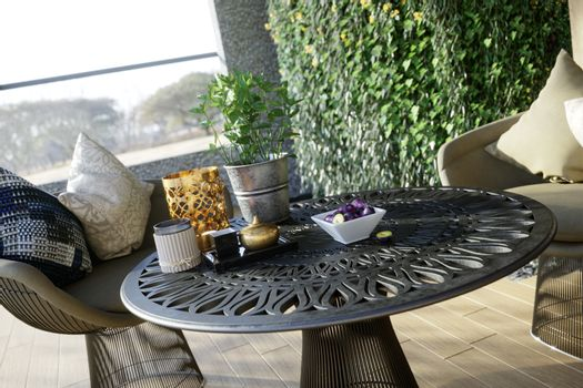 outdoor closeup with table and chairs photo