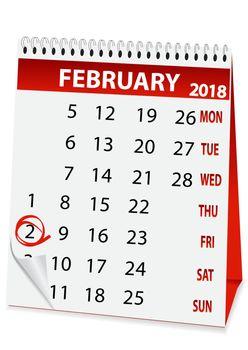 holiday calendar for Groundhog day 2018