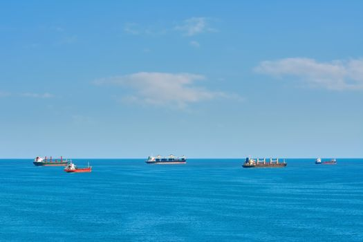 Cargo Ships at Anchorage