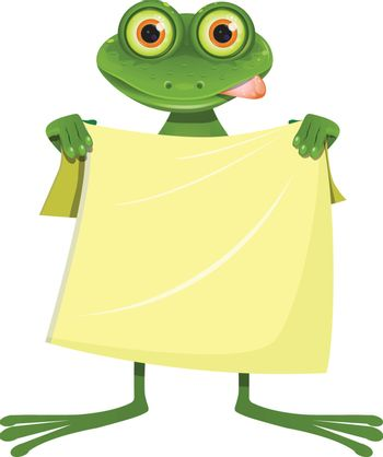 Illustration Goggle-eyed Frog with a Yellow Towel on a White Background