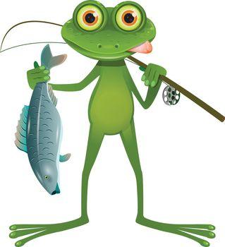 Illustration Goggle-eyed Frog Fisherman on a White Background