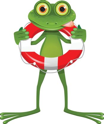 Illustration Goggle-eyed Frog with Lifebuoy on a White Background