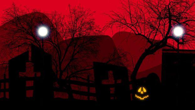 Halloween concept graveyard with pumpkins on red. 3d illustration