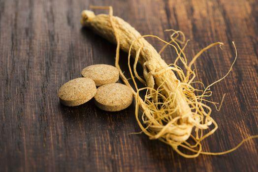 Korean ginseng. Root and pills