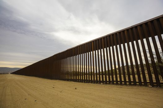 Long section of the United States international border wall with Mexico