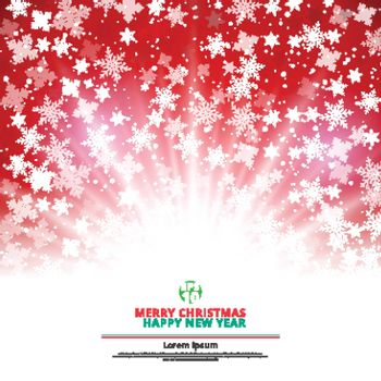 Winter red background christmas made of snowflakes and snow with lighting blank copy space for your text, Vector illustration