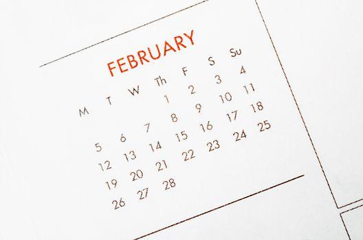 February calendar page.