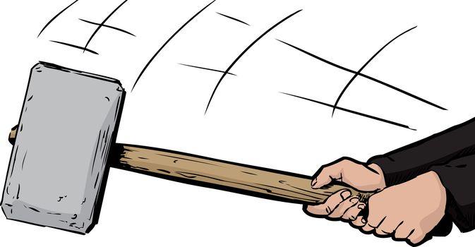 Large Sledge Hammer Swinging Down