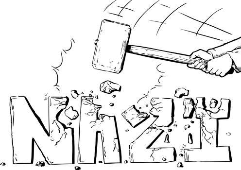 Outline of sledge hammer destroying the word Nazi